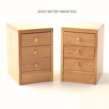 Pair of Pine Modern Bedside Cabinets, Dolls House Miniature Bedroom Furniture