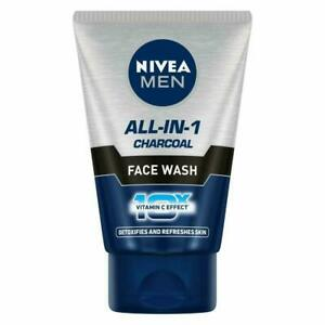 NIVEA MEN Face Wash, All In One, Charcoal 10x Vitamin C, 100g