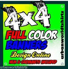 4X4 Printed Full Color Custom Banner Sign * Outdoors* +grommets +hems