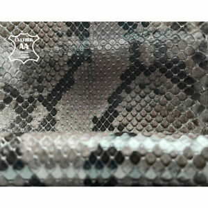 Genuine Python Skin Sheets  // Choose Your Size From 8 - 39 in // Gray with Blac