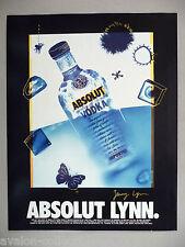 Absolut Vodka - Absolut Lynn PRINT AD - 1993 ~~ Jenny Lynn