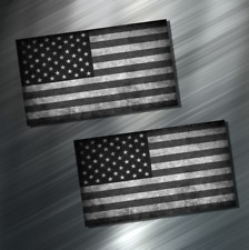 (2) TWO AMERICAN FLAG Vinyl Decal Sticker For Car Laptop Skateboard NEW USA B&W!