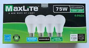 4 Maxlite Dimmable LED Daylight Light Bulb 10-Watt 75 Watt replacement 5000k