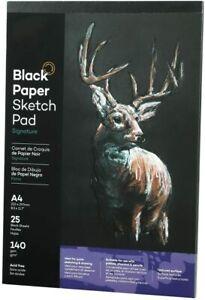Black Paper Sketch Pad A3 A4 A5 Hardboard Sketchbook Acid Free 140g 25 Sheets