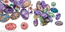 30 Polymer Poly Fimo CLAY Bead Mix ~Flower Design ~ Oval Egg Shape 15mm x 10mm