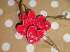 5 x Personalised Hand Made Wooden Red Heart Gift Tag Christmas Tree Decoration