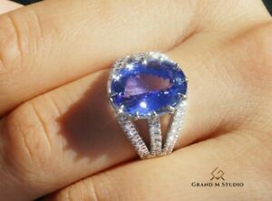Tanzanite Ring Gold Diamond Natural NO HEAT 7.56CTW GIA Certified RETAIL $12100