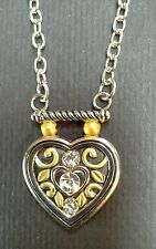 Silver Plated Pendant Necklace Enamel Heart Shape w/Rhinestones ~ NWT