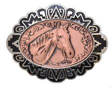 """Copper Belt Buckle Horse Head 4"""" x 3"""" - Metal"""