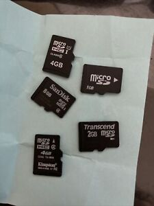 Lot  of 5 - 1GB-8GB Micro SD Cards mixed brand