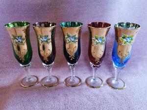 5 x SC-Line Italy Sektglas Sektgläser Glas Gläser Sekt Gold Bunt Farbig