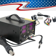 4in1 909D+ Heat Hot Air Gun Rework Station Soldering iron Power Supply 800W 110V