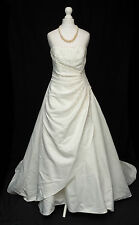 Forever Yours Ivory Satin Big Train Beaded Bustle Back Wedding Dress 10 R372