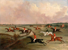 Hand painted Oil painting horsemen riding horses Race horserace in landscape