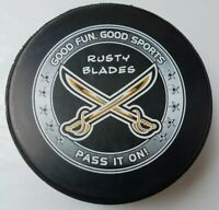 RUSTY BLADES HOCKEY CLUB SWORDS OFFICIAL GAME PUCK MADE IN CANADA LINDSAY MFG.