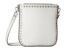 Steve Madden Corina White Studded Leather Silver Crossbody Shoulder Bag