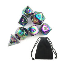 7 Pcs Rainbow Metal Polyhedral Dice DND RPG MTG Role Playing Game + Bag Set