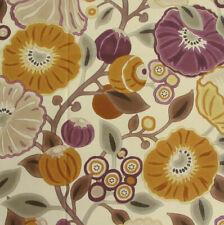 "62cm x 138cm SANDERSON ""Tree Poppy"" Cotton fabric Art Deco Damson/Gold"