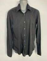 MEN HUGO BOSS BLACK PIN STRIPE LONG SLEEVE SLIM FIT SMART/CASUAL SHIRT SIZE 16.5