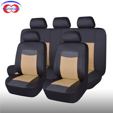 Universal Seat Covers Faux Leather Waterproof Beige for Car Truck Van SUV