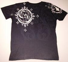 CRANK COUTURE Fleur De Lis Cross T-shirt Black Tee SzS