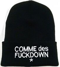 ALL SEASON BEANIE HAT **COMME DES FUCKDOWN** BLACK HAT WITH WHITE TEXT