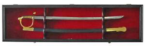 Sword Display Case Cabinet Stand Holder Wall Rack - Lockable door, KCS03-BL