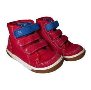 Stride Rite Toddler Boys Size 7 Hi-Top Shoes Red Hook & Loop Strap Memory Foam