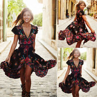 Women Summer Vintage Boho Long Maxi Evening Party Beach Dress Floral Sundress