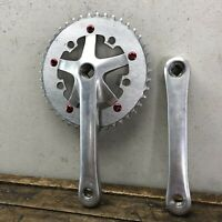 Vintage Sugino Crank Set 170mm Red Bolts Fixie Old School BMX 43t R3