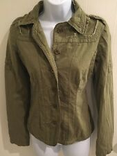 BY DEEP Los Angeles Green Khaki Cotton Embroidered Jacket SIZE S