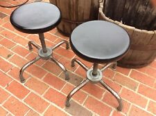 "2 Same Vintage Ajustrite Metal Stools - 15"" To 20"" - 13"" Seats - Very Good"