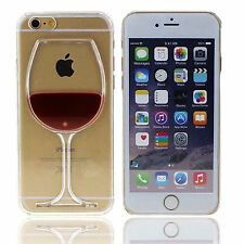 3D Moving Liquid Red Wine Glass Beer Cocktail Case Cover For Apple iPhone 6 4.7