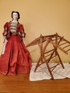 """14.5"""" Antique Salesman Sample Wooden pegged drying rack dolls or childs folding"""