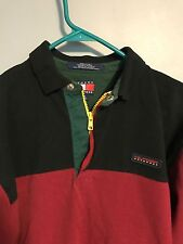 VTG 90s Tommy Hilfiger Outdoors Color Block Spell Out Zip Rugby Polo Sz M RARE