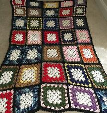 Hand Made Crochet Blanket Throw Granny Square Blanket Multi Color