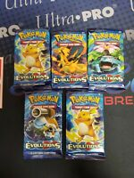 POKEMON TCG XY EVOLUTIONS 5 FACTORY SEALED BOOSTER PACK LOT