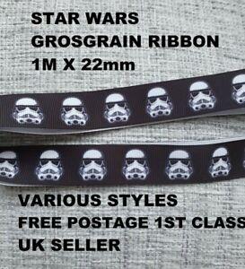 """STAR WARS Grosgrain Printed Ribbon 22mm Width 7/8"""" Birthday Cake Stormtrooper"""