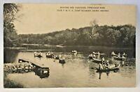 Vintage Postcard Delphi Indiana c.1907-1915 YMCA Camp Tippecanoe River Boating