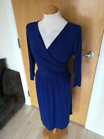 Ladies Dress Size 14 M&S Blue Faux Wrap Stretch Smart Casual Day Party