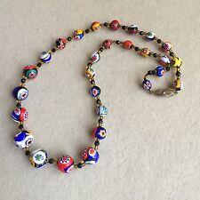 Vintage ITALIAN Venetian MILLEFIORI Murano ART Glass GRADUATED Beads NECKLACE