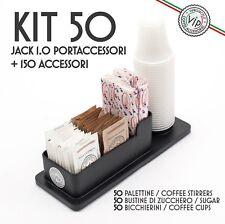 Kit Accessori 50 pezzi Caffè, Zucchero, Palette, Bicchierini + PORTA ACCESSORI