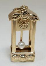 14k Yellow Gold Grandfather Clock Pendulum Floor Clock Pearl Charm Pendant