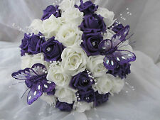 BEAUTIFUL PURPLE AND IVORY HANDTIED BRIDES WEDDING BOUQUET
