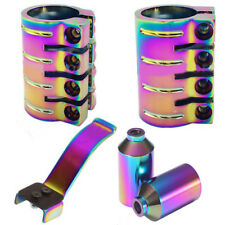 STUNT SCOOTER OIL SLICK NEO CHROME HIC & ICS QUAD CLAMP & PEGS BRAKE 100mm 110mm