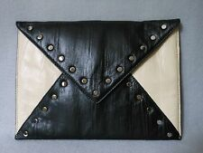 bebe Black & Cream Leather Studded Envelope Clutch Handbag *STUNNING*
