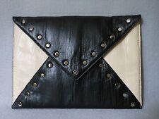 bebe Black & Cream Leather Studded Envelope Clutch Handbag *STUNNING*