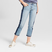 Women's Low-Rise Tuxedo Stripe Cropped Boyfriend Jeans - Mossimo