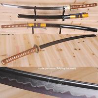 Japanese Samurai Sword Katana Black Damascus Steel Clay Tempered Razor Sharp