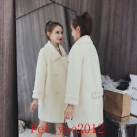 Women Grace Collar Mink Fur Wool Coat Thicken Slim Jackets Mid Long Parkas 2019